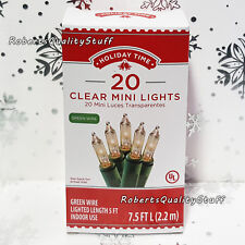 Holiday Time 20 Clear Mini Lights Christmas Wedding Green Wire NEW FREE SHIPPING