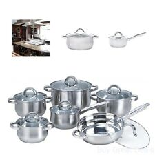 12 Piece Pots And Pans Cookware Cooking Stainless Steel Set With Glass Lids