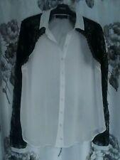Vestido Sexy de Encaje Negro Smart Luxe Crema Manga Transparente Liviano Blusa Camiseta Talla 12