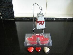 Tea Light Holder with Glass Shade, 3 Heart Shaped Stones, 2 Heart Shaped Candles