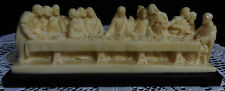 ALABASTER SCULPTURE THE LAST SUPPER BY A SANTINI MADE IN ITALY JESUS & DISCIPLES