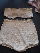 Vintage 50s 60s Cotton Ruffle Granny Panties and tube top Bra set Miss Elaine