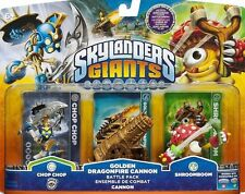 Skylanders Giants Adventure Battle Pack Golden Dragonfire Cannon Chop 3 pack NEW