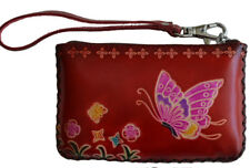 Leather Wristlet Change Purse, Rectangle, Butterfly & Flower, Red (more colo)