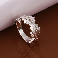 925 Sterling Silver Zirconia Flower Ring Size 8 B38