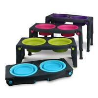 Dexas ADJUSTABLE HEIGHT DOUBLE FEEDER Twin Feeding Station Food Water Bowls