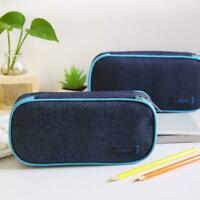 School Boy Pencil Case & Bags Solid Color Large Capacity Denim Pen Box Canv W7K5
