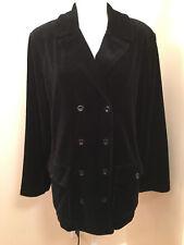 Vintage LIZ CLAIBORNE - LIZWEAR Black Velvet PEACOAT Military Blazer Jacket - M