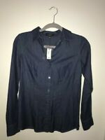 NWT The Limited Women's Long Sleeve Button Down  Denim Shirt Blouse TopSize XS