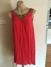 Ladies Watermelon Pink ROCKMANS Dress Size 10 Summer Beaded Sleeveless Mid Lengt