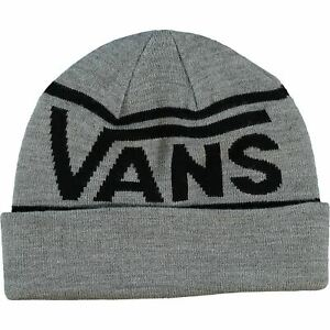 VANS Men's Grey Knitted Logo Beanie Hat, One Size Adult