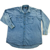 Wrangler Vintage Western Shirt Mens 3XL Blue Twill Denim Snap Button Long Sleeve