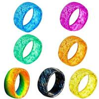 Nachtlicht Luminous Resin Tattoo Band im Dunkeln leuchten Mode Ring Q6D4