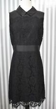 NEW Kate Spade Black Floral Lace Satin A-Line Dress Peter Pan Collar Pointe 10