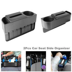 2Pc Car Seat Side Slit Gap Filler Tissue Box Storage Pocket Organizer Cup Holder