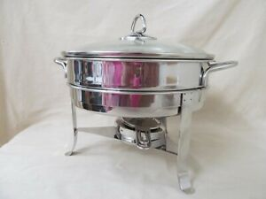 3 qt Gourmet Standard Stainless Steel Chafing Dish with Glass Lid, Stand, Burner