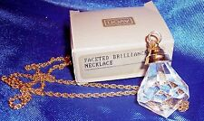"AVON NECKLACE  FACETED DIAMOND CUT SPARKLING BIG GEM=AVON~GOLD TONE CHAIN 14"""