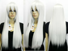 Brand Fashion Silver White Women's Long Straight Cosplay Full Wig Hair Wigs +Cap