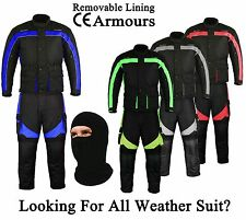 Motorbike Motorcycle Waterproof Suit 2 piece Armoured Jacket Trouser Coat Gear