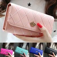 FP- AU_ Women Quilted Crown Clutch Long Purse Leather Wallet Card Holder Handbag