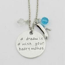 """A DREAM IS A WISH YOUR HEART MAKES CHARM NECKLACE 18"""" Cinderella Disney Inspired"""