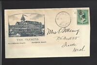"OLYMPIA,WASHINGTON,1890 COVER,FULL ILLUST HOTEL ADVT. COVER, ""THE OLYMPIA""."