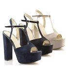 Scarpe donna sandali con tacco alto plateau spuntati punta quadrata decolte