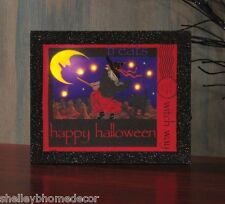 Halloween Witch on Broom Witch Way Stamp Lighted Picture by Radiance x46997 NEW