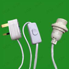 E14 SES UK Plug Light Bulb Holder Inline Switch Salt Selenite Desk Table Lamps