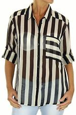 Classic Collar Long Sleeve Striped Tops & Blouses for Women
