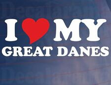 I LOVE/HEART MY GREAT DANES Novelty Car/Van/Window/Bumper Sticker for Dog Owners