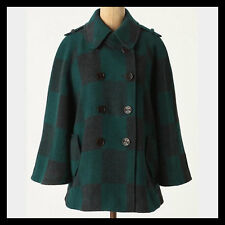 Anthropologie Cartonnier Wool Checker Table Cape Coat Jacket S $188