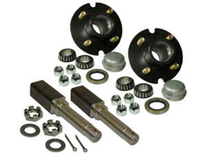 """Pair Of 4-Bolt on 4"""" Hub & 1"""" Square Shaft Spindle Assembly"""