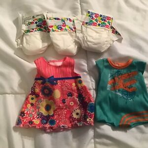 LOT Baby Alive Doll Dress, One Piece Clothes And Diapers