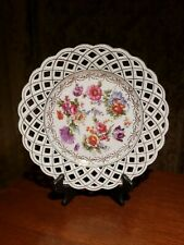 """Antique Vintage Dresden Bavaria Reticulated """"Flowers"""" - 9.5"""" PLATE"""