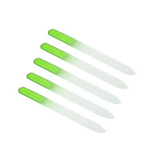 New 5 Pcs Crystal Glass Nail File 5.5'' Salon Quality Nail Care+Case Pure Green