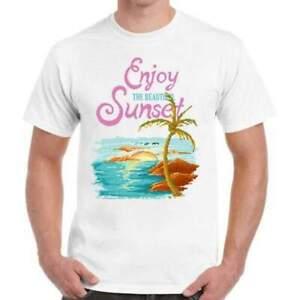 Enjoy The Sunset Beach Summer - 8 Bit Retro Style Unisex White T-Shirt