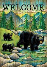 WELCOME BLACK BEAR Woodland Great Outdoors 2 Sided Custom Decor House Flag USA