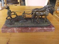 Antique / Vintage Bronze On Stand Ploughman & Horses