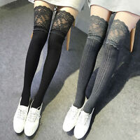 Womens Girls Knitting Lace High Socks Pantyhose Over Knee Thigh High Stockings