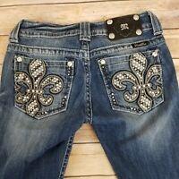 Miss Me Womens Jeans Size 26 Skinny Low Rise Medium Wash Distressed Fleur de Lis