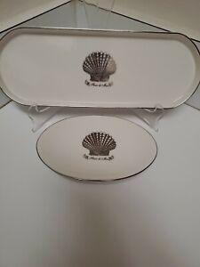 Kassatex Seychelles Fleur De Mer Porcelain Sea Shell Vanity Tray & Soap Dish