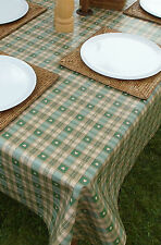1.4x1.4m SQUARE GREEN HEARTS / PVC WITH PARASOL HOLE / GARDEN TABLECLOTH