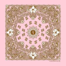 Made in USA Rosa con Fiori Bandana Disegno Cachemire Sciarpa Fascia per Capelli