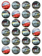 "x24 1.5"" Eighties 1980s Classic Vintage Sports Car Cupcake Topper On Rice Paper"