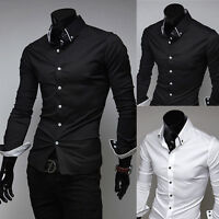 Korean Men's Casual Luxury Stylish Shirts Solid Slim Fit Stylish Dress Shirt Top