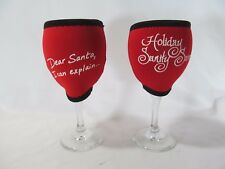 "Pair of W. I. N. O. S. ""Women in Need of Sanity""  Wine Glass Koozies & Glasses"