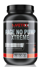 Matrix Rage No Pump Xtreme Pre Workout Energy Powder Nitric Oxide - 600g Citrus Orange 1 Tub