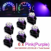 PA x2 pcs T10 168 194 Led instrument Panel Dash Light Bulb 1//2 Twist Lock Socket 12V Purple