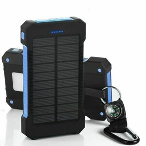 LED 50000mAh Solar Power Bank Waterproof Dual USB Battery Charger For Cell Phone
